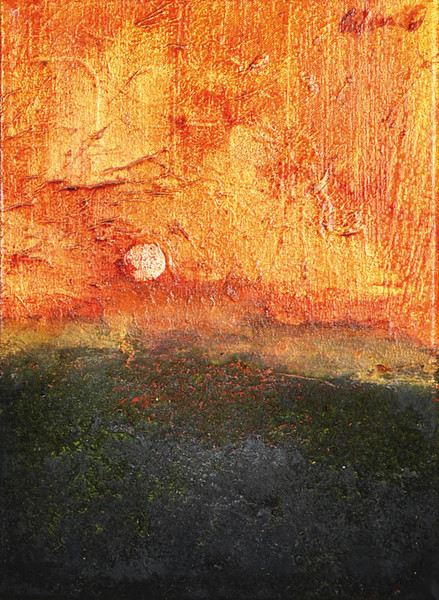 """Paesaggio interiore (inner landscape)"" (Oil painting, gold leaf , acrylic on canvas) by Oscar Coffani"