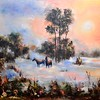 """Fog and horses"" (oil on canvas) by Galina Kolomenskaya"