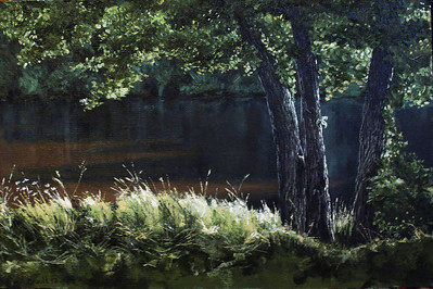 """Placid evening"" (oil on hardboard) by Alexandre Crault"