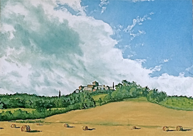 """""""A View of Fabro, Italy From the South"""" (oil on canvas panel) by Louis Degni"""
