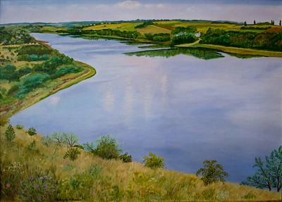 """Dnister river"" (oil on canvas) by Nataliya Dovhanyuk"