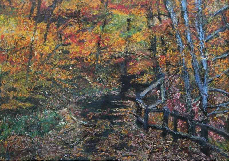 """Fall Path"" (mixed media) by Rupali Kumbhani"