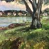 """Fishing Tree on Lake Musconetcong"" (acrylic) by Lori Vilagos"