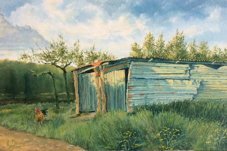 """The Rusty Shed and The Rooster"" (oil on canvas panel) by Louis Degni"