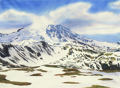 """Mt. Rainier, Melting Snow II"" (watercolor) by Elizabeth Burin"