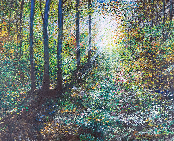 """Heavenly Light"" (acrylic on illustration board) by Eugene Kuperman"