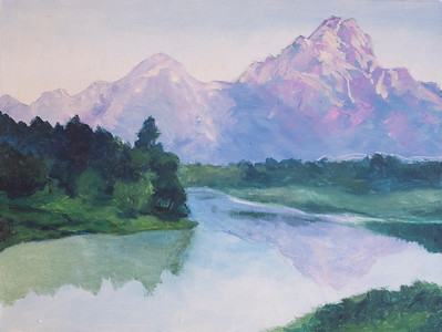 """Tasumsac Mountain"" (oil) by Margaret Adams"