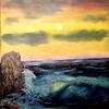 """Rainbow Sky at Seashore"" (oil on canvas) by Robert McCombie"