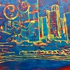 """Detroit skyline at night"" (mixed media) by Vasundhara Tolia"