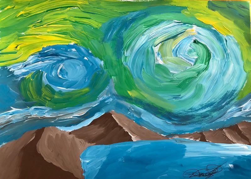 """""""Lake in the mountains"""" (gouache) by Maxim Kotik"""
