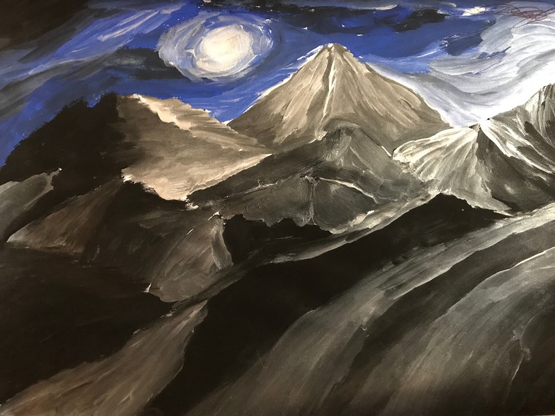 """Night in the mountains"" (gouache) by Maxim Kotik"