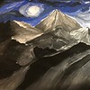 """Night in the mountains"" (gouache) by Maxim Kotik"
