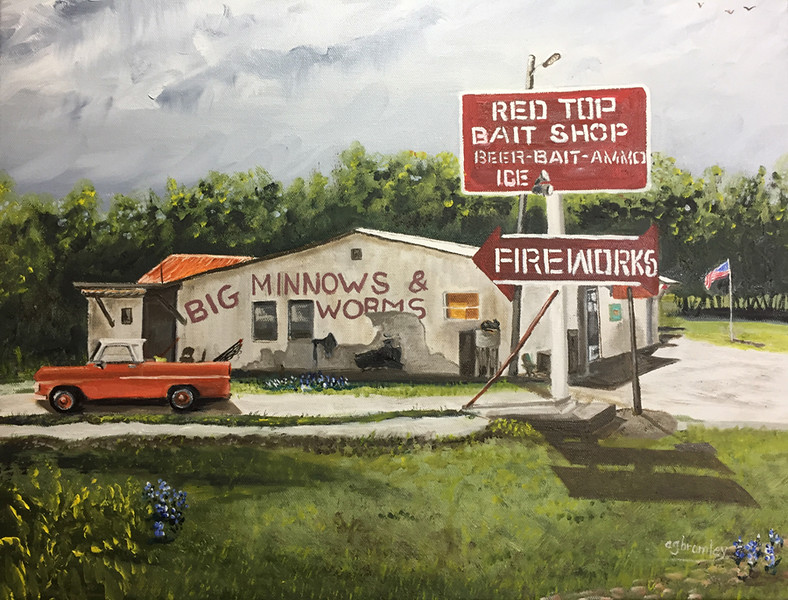 """""""Red Top Bait Shop"""" (oil on canvas) by Crista Bromley"""