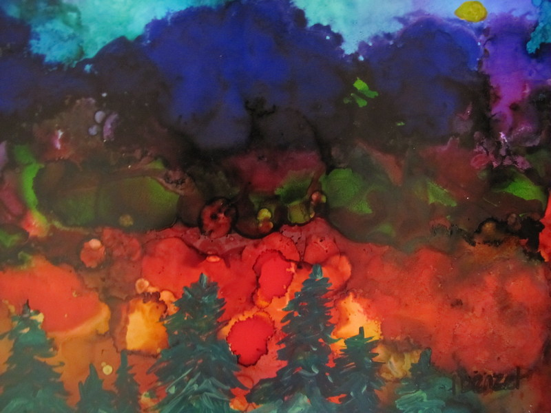 """""""35.New Horizons"""" (mixed media - alcohol ink, Luminaire, acrylic) by Ilona Benzel"""