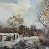 """Garages"" (oil on canvas) by Evgenia Severskaya"