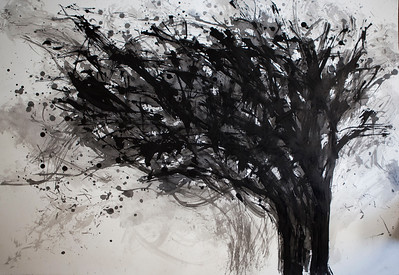 """Thorn Tree"" (sumi ink on printmaking paper) by Joon Lee"