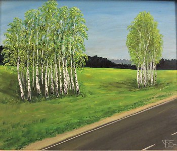"""Birches"" (tempera) by Boriss Borisovs"