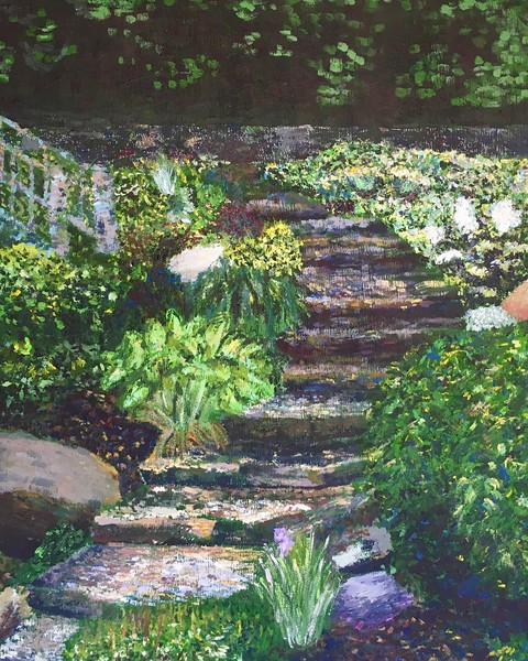 """Garden Steps"" (acrylic on canvas) by Taylor George"