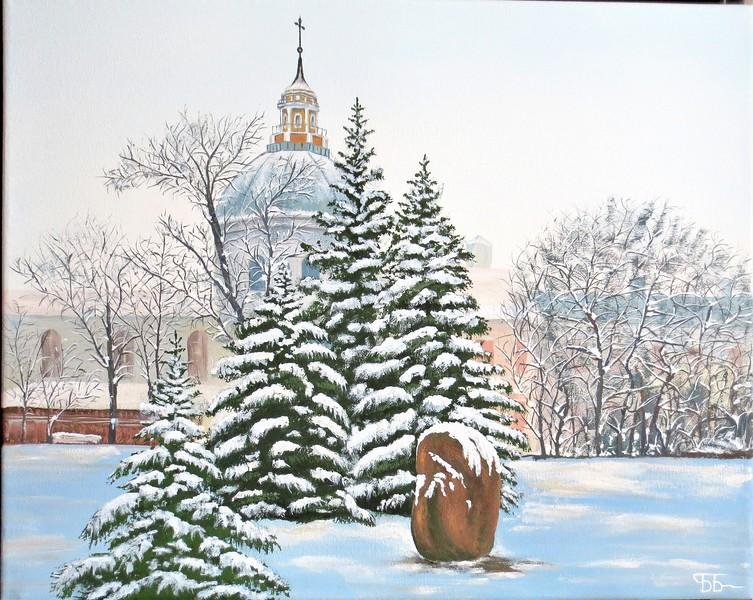 """""""Winter Day"""" (tempera) by Boriss Borisovs"""