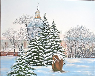 """Winter Day"" (tempera) by Boriss Borisovs"
