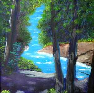 """Porcupine Mountain Stream"" (oil on canvas) by Eldon Case"