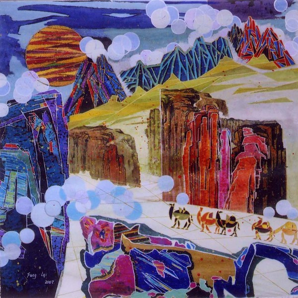 """Camel bell on the Silk Road"" (acrylic) by Lei Feng"