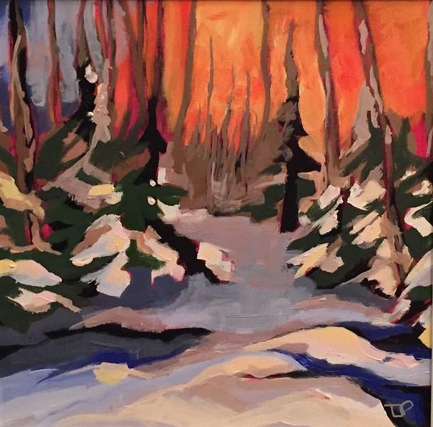 """""""Winter Fire"""" (acrylic) by Tracy Lyn Propp"""