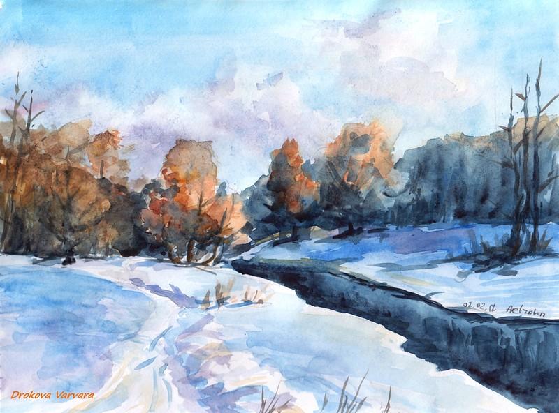 """February Sun"" (watercolor) by Varvara Drokova"