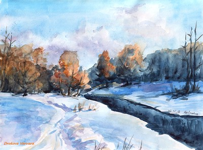 """February Sun"" (watercolor) by Varvara Drokova"