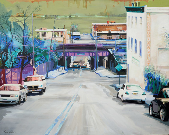 """View of the Hudson from Warburton Avenue"" (oil on canvas) by Julia Eisen-Lester"