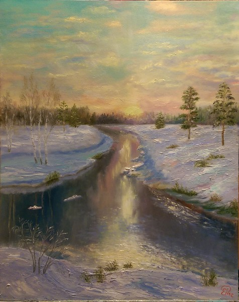 """Painted by winter"" (oil) by Elena Rachkova"
