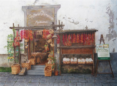 """Terranova  Farmstand"" (colored pencil) Caryn Coville"