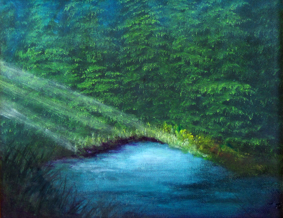 """Sunlight Through Forest Mist"" (oil on canvas) by Eldon Case"