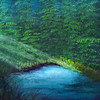 """Sunlight Through Forest Mist"" (oil on canvas) by Eldon Case"