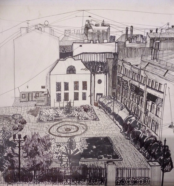 """Churchyard of the Holy Righteous Simeon and Anna the Prophetess Church"" (marker, mixed media) by Nikolai Petrenko"
