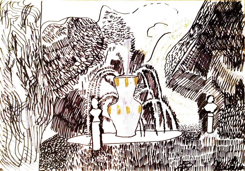 """Theatrical fountain in the summer garden"" (marker, mixed media) by Nikolai Petrenko"