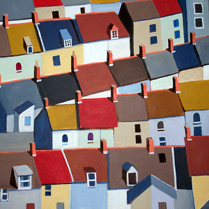"""London Terraced Buildings""  (acrylic on canvas) by Toni Silber-Delerive"