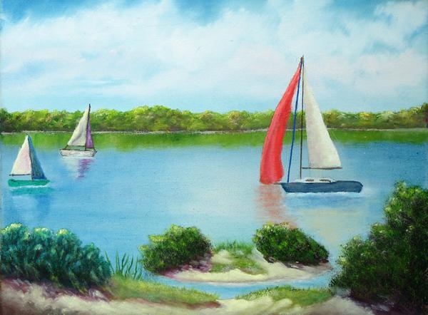 """""""Sunday on Traverse Bay"""" (oil on canvas) by Eldon Case"""