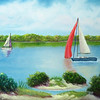 """Sunday on Traverse Bay"" (oil on canvas) by Eldon Case"
