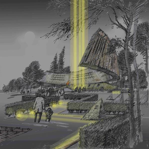 """Bright memory (Memorial to the heroes of a Great Patriotic War in landscape park)"" (pencil, colored pencil) by Ilya Klimov"