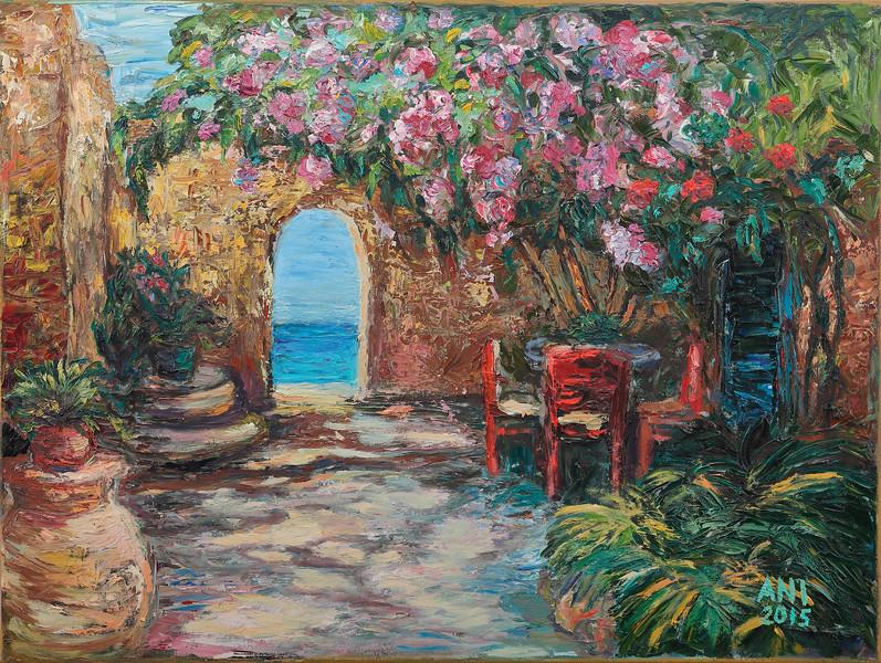 """Italian Patio"" (oil on canvas) by Nadezda Tarasova"