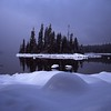 Island in Lake Wenatchee with fresh snow