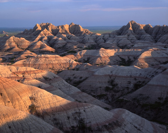 Badlands in late light, Badlands NP, South Dakota