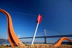 """IMG_6358F """"Cupid's Span"""" by Claes Oldenburg and Coosje van Bruggen. Built in 2003 in Rincon Park area. Resembling Cupid's bow and arrow. The statue symbolizes the place where Tony Bennett """"left his heart"""". Bay Bridge in background."""