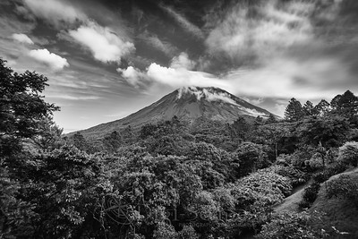 Clouds Above Arenal Volcano - BW
