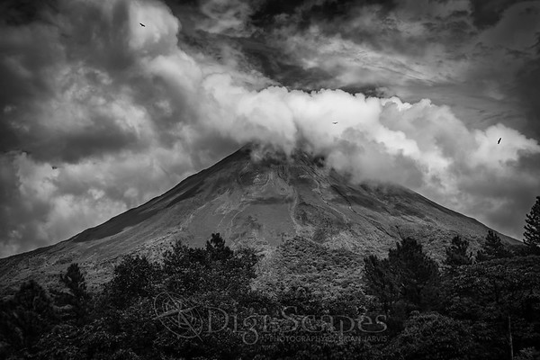 Moody Arenal Volcano - BW