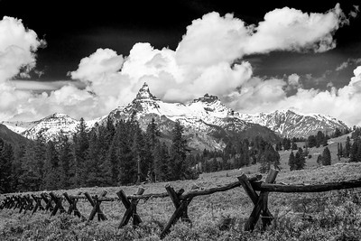 Pilot Peak and Fence in Black and White