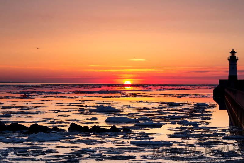 Sunrise over Lake Superior ice (taken in late May - winter was still hanging on)