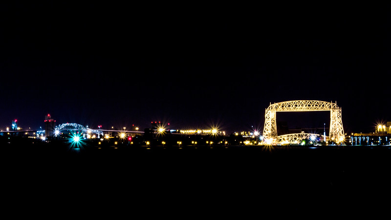 Night shot of the Lift Bridge and Blatnik Bridge