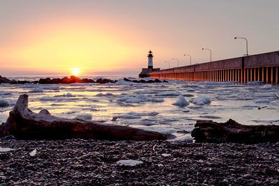 Sunrise over Lake Superior in Duluth